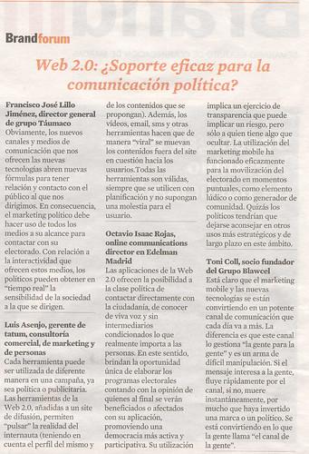 Web 2.0: ¿Soporte eficaz para la comunicación pol�tica?