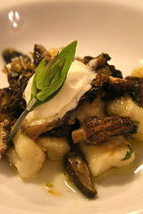 Gnocchi with morels and mascarpone cheese