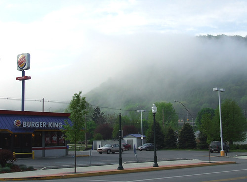 Fog hides the entrance to Plummers Hollow; only the Sapsucker Ridge side is visible in this shot, taken on Pennsylvania Avenue in Tyrone