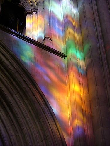 sunshine on stone through glass