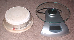 my old analog food scale & new digital food scale