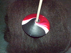 small polymer clay spindle whorl