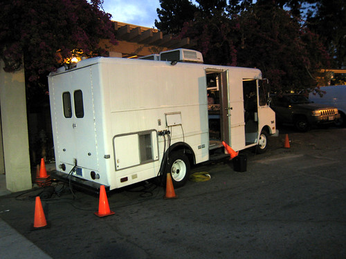 Media van outside the Pasadena Senior Center