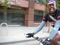 Cyclist on Santa Clara Street, downtown San Jose California
