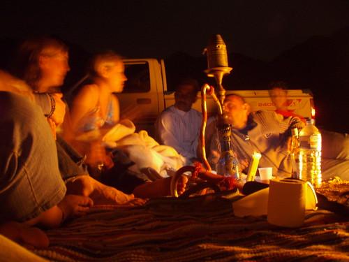 Campfire, shisha, beer.