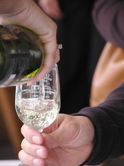 Pouring Leelanau wine