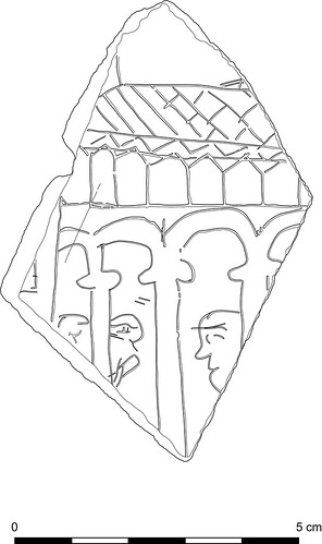 Drawing of an inscribed slate from Inchmarnock, by Thomas Small, licensed under Creative Commons