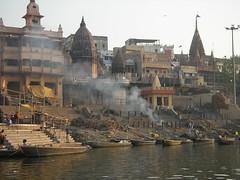 Burning Ghat from Ganga, Varanasi