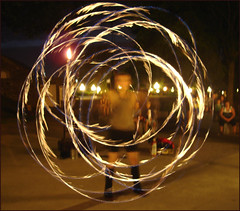 Woman spinning fire