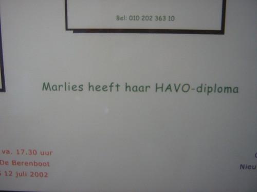 Marlies heeft haar HAVO diploma!