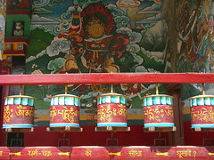 Prayer wheels, Tibetan temple, Sarnath