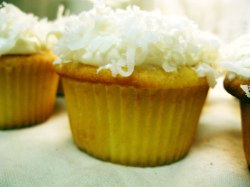 Cream cheese + coconut frosting.