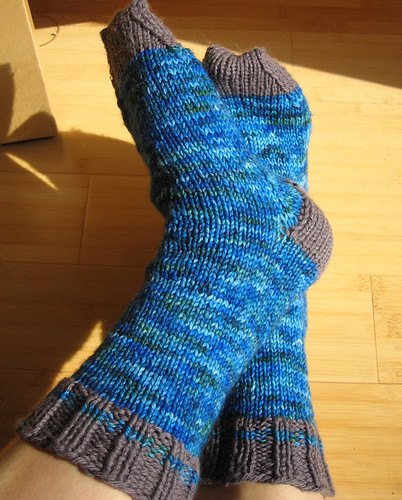 This was my very first pair of socks. Made for Mr. CD. I handpainted the main yarn.