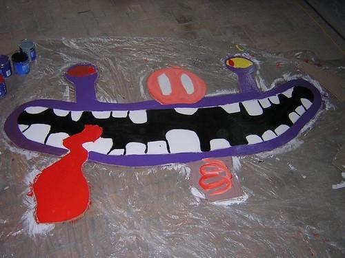 Workshop Crazy Creatures; het resultaat. Ongeveer 1.80 x 60 cm