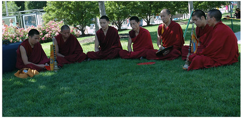 Red Monks in the Green Grass
