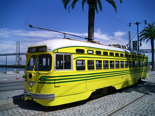 A PCC Car painted in Cincinnati colors still in service in San Fransisco