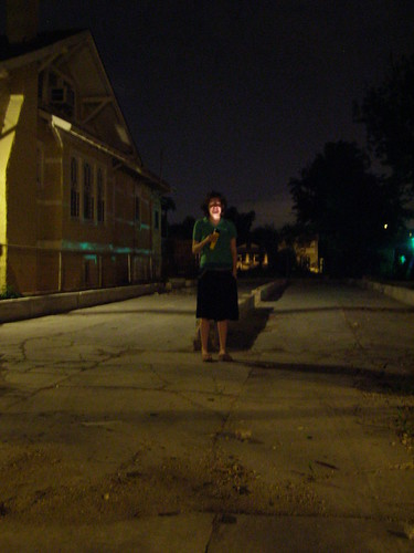 Ida in the vacant lot on Apricot