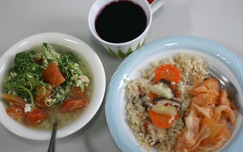 vegetables, egg, tomatoes, kimchi, carrots, grape juice
