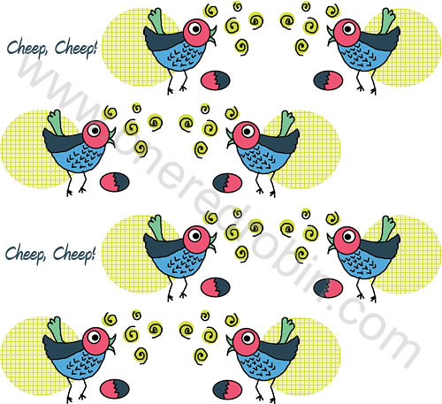 """Birdies & Eggs ""Pattern by j.m.aranez."