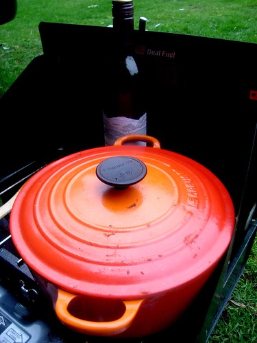 Camping Essentials - Le creuset and Warming Red Wine