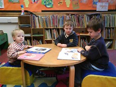 Boys reading at the library