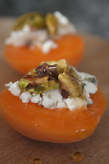 Apricots with Bleu cheese, pistachios, and honey