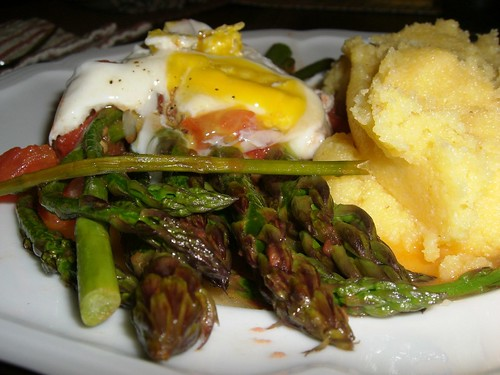 Pan-Roasted Asparagus, Truffled Egg, Polenta