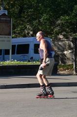 Old man on roller blades