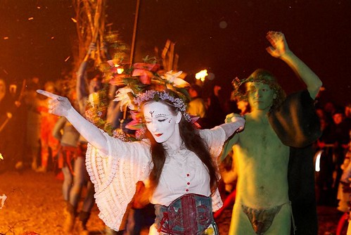 May Queen Leading Green Man around the Bonfire
