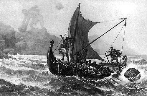 Odysseus taunts Polyphemus