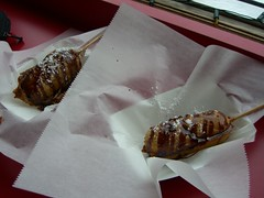 deep fried twinkies with chocolate syrup and p...
