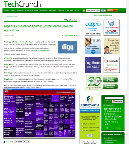 DiggGraphr on Techcrunch