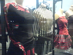 Crazy awesome asymetrical black, white, red clothes