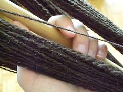 first wheelspun yarn -- close-up