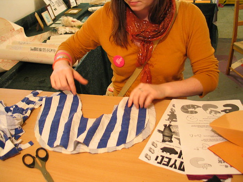 Sarah with fabric for her pluh fox