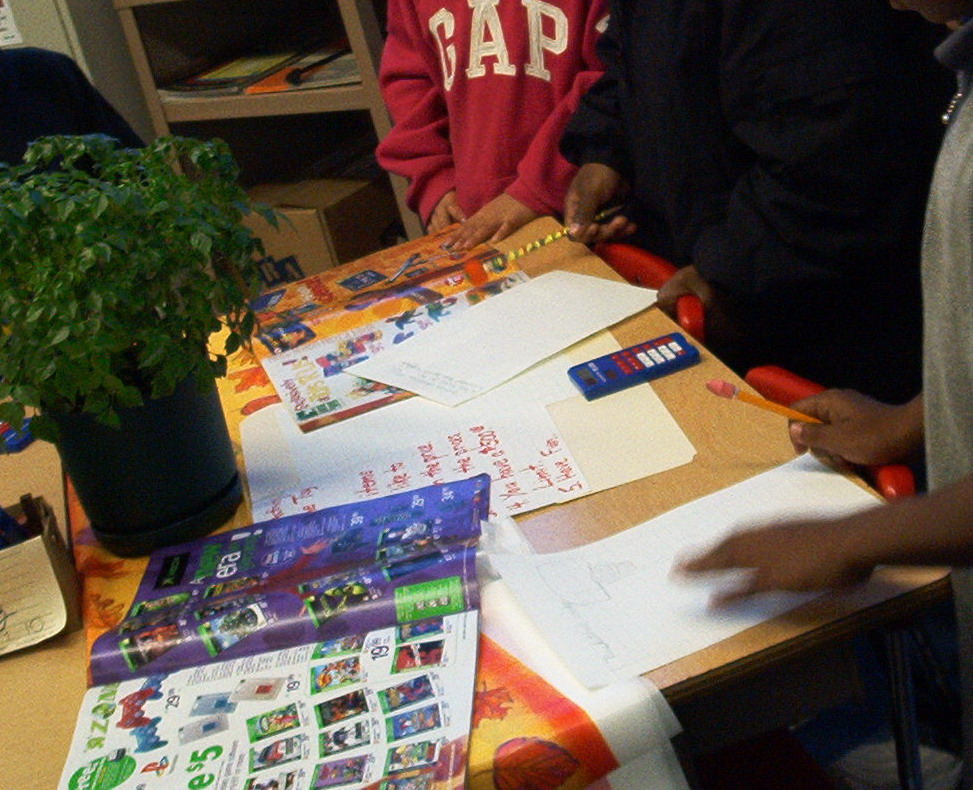 Money Math Center with students working
