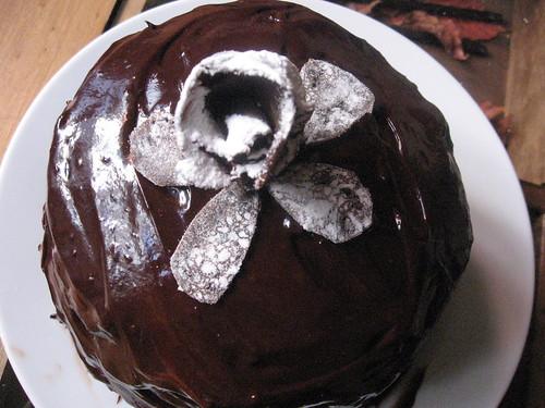 chocolate crepe cake with hazelnut filling