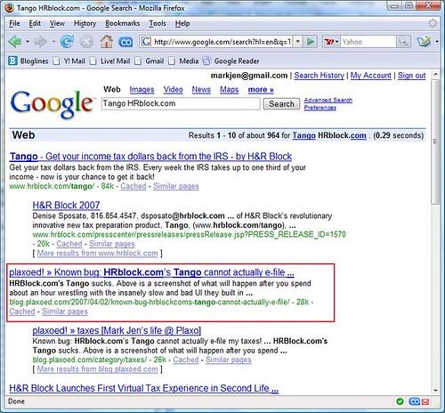 "Google search for ""Tango HRBlock.com"""