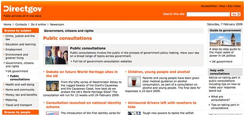 http://www.direct.gov.uk/en/Governmentcitizensandrights/UKgovernment/PublicConsultations/index.htm