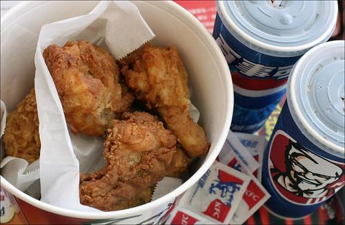 kfc fried chicken bucket and softdrinks