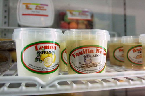 Pure Gelato Lemon sorbet and Vanilla Bean Gelato tubs at Keiraville Fine Cuisine by you.