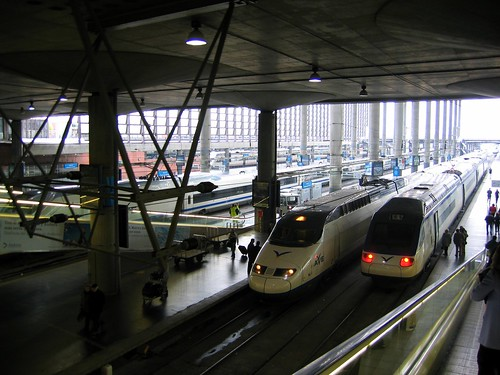 AVE trainsets at Madrid Atocha - photo by Sean Munson