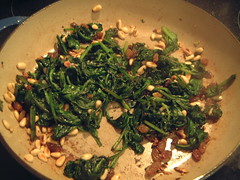 Spinach with sultanas and pine nuts