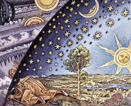 Woodcut of man looking through universe by Pip_Wilson