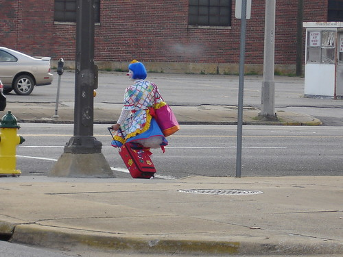 Clown Leaving BJCC, Shelter, in Birmingham AL
