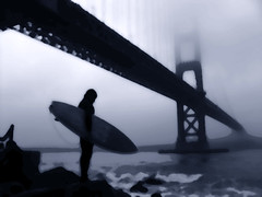 Surfer At Fort Point