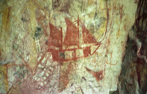 Contact - Aboriginal rock painting depicting first fleet