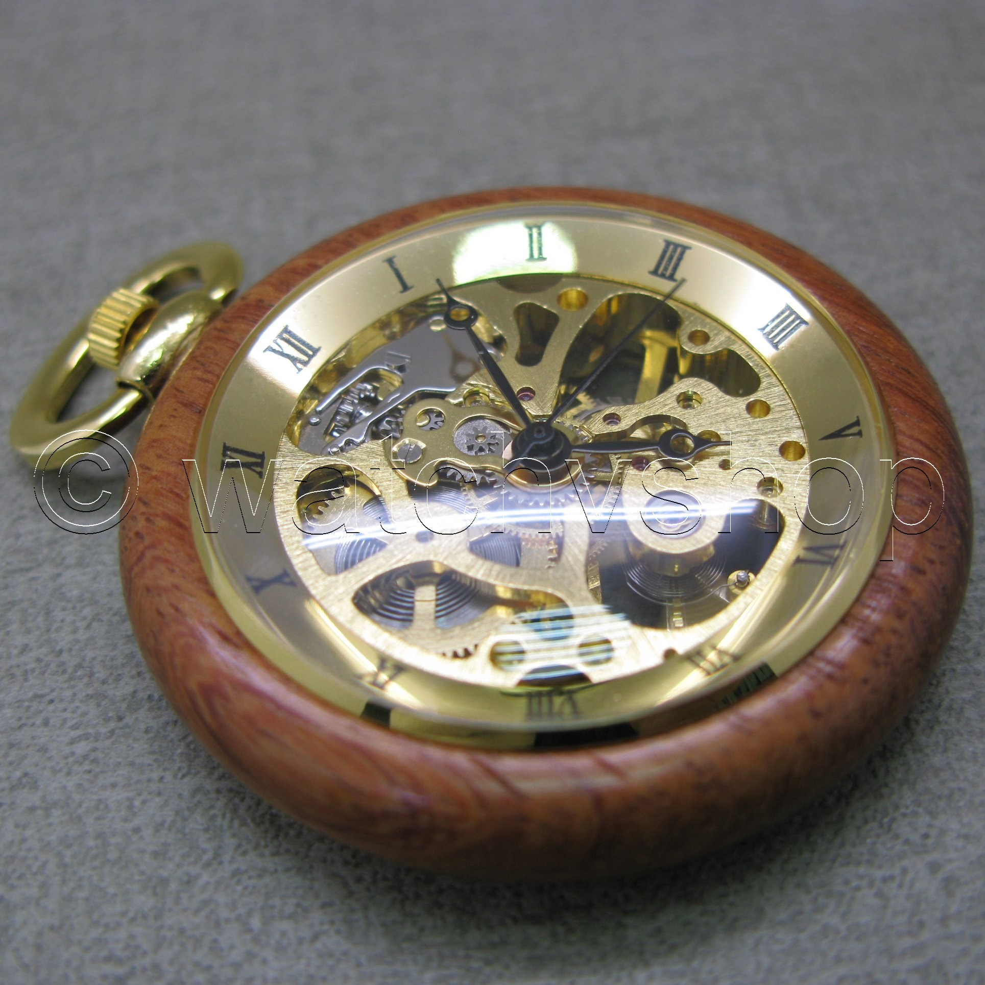 Mechanical Wood Antique Gold Skeleton Mens Pocket Watch With Box On Chain Pbw010