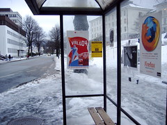 Bus stop with Firefox ad