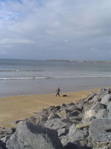 Man walking dog, Lahinch, Clare, Ireland